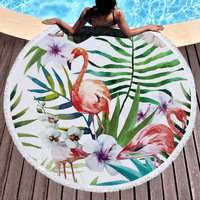 Bath blanket Fashion personality American Wind Circular printed beach towel flamingos microfiber and fringed soft handle