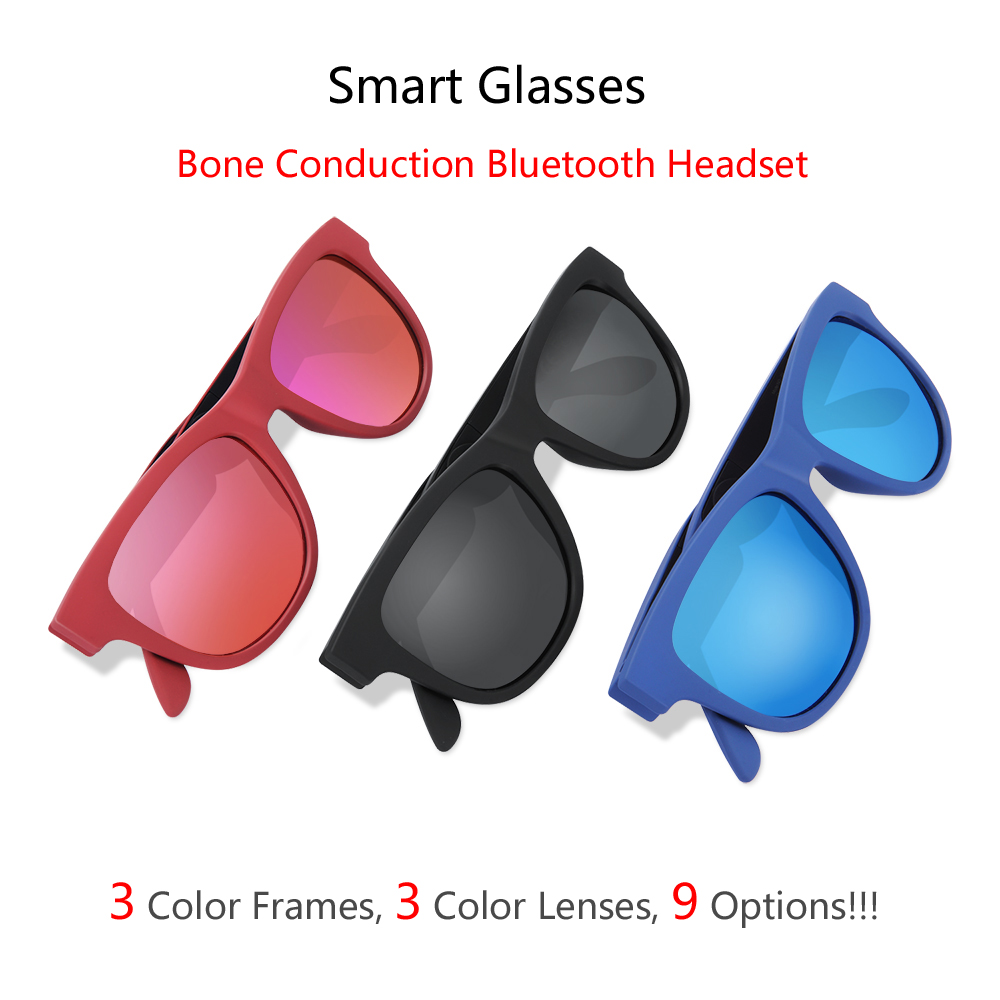 2018 G1 Polarized Bone Conduction Headset Touch Control 9 Colors Smart Sunglasses Health Sports Wireless Headphones&Microphone