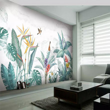 Tropical plant background living room bedroom background wall professional making murals, wallpaper wholesale, custom photo wall цена 2017