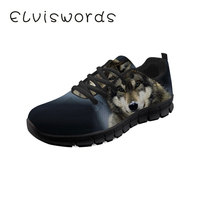 Women's Casual Shoes Wolf Cool Printed Fashion Lace up Ladies Sneaker Lightweight Flat Sport Shoes Students
