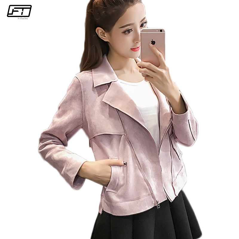 Fitaylor Motorcycle   Suede   Faux   Leather   Jacket Women Slim Short Coat Turn-down Collar Zipper Bomber Pink   Leather   Jackets Female