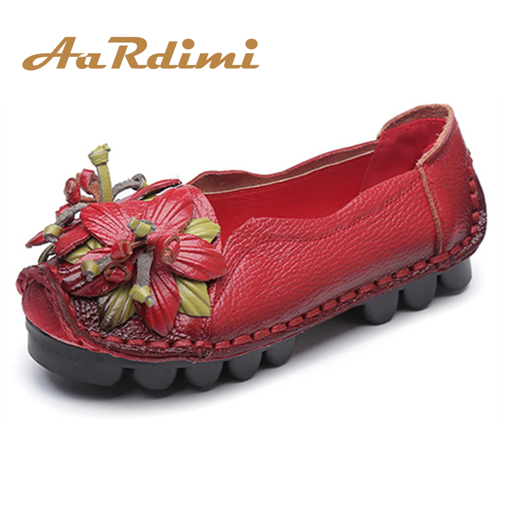 Women Shoes Handmade Genuine Leather Casual Shoes Women Floral Solid Flat Shoes Vintage Cow Leather Loafers Shoes Woman women shoes handmade genuine leather