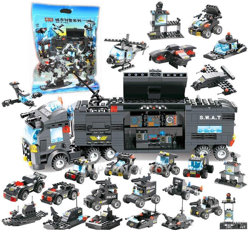 8 IN 1 Stadt Polizei SWAT Lkw Auto Bausteine Sets Technik Figuren LegoINGLs Playmobil Ziegel Weihnachten Spielzeug Für Kinder