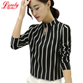 New 2017 Spring Women Striped Chiffon Blouse Stand Collar Slim Woman Tops And Shirts Plus Size Ladies Clothing 3XL Hot Sale
