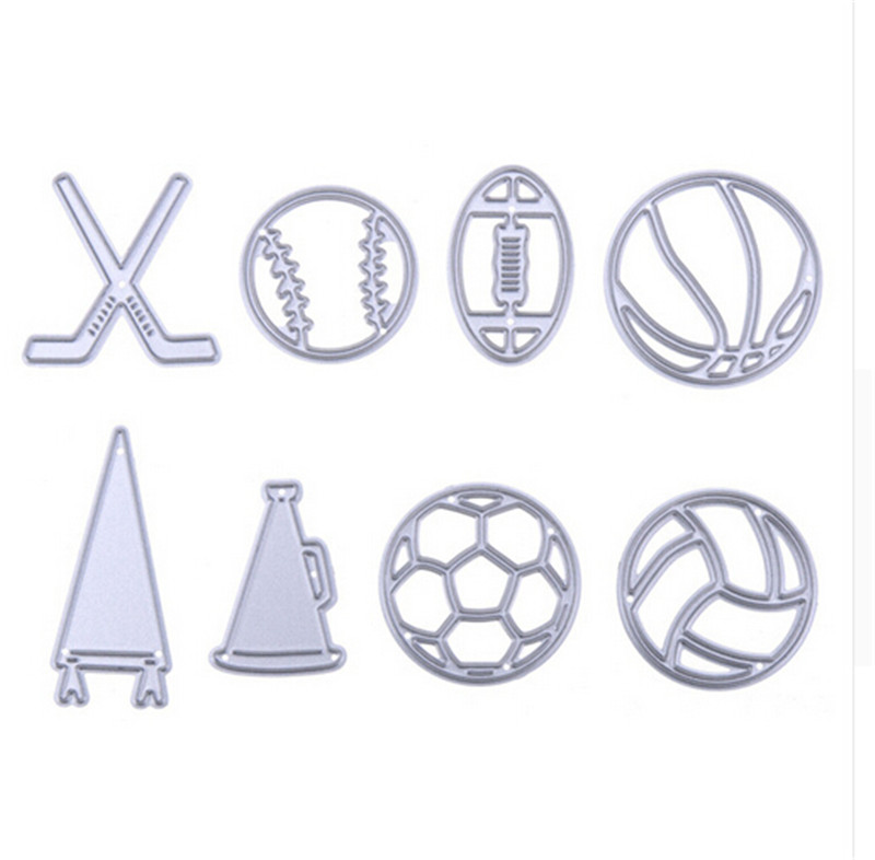 8pcs/Set Ball Game Metal Cutting Dies Stencil for DIY Scrapbooking Embossing Photo Album Paper Cards Decorative Play Crafts Dies