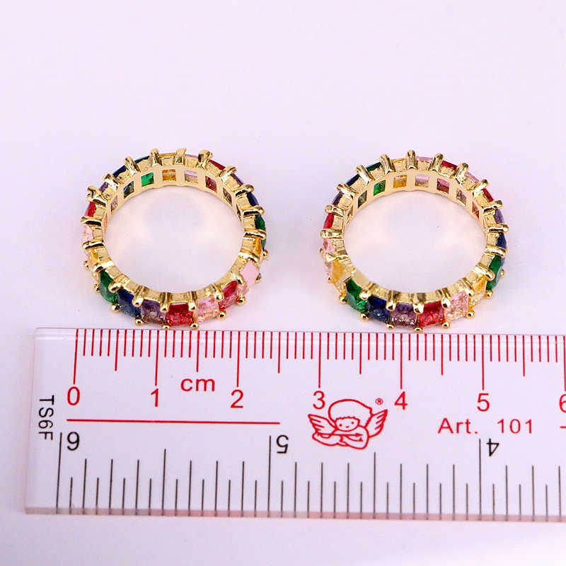 Rainbow Anel Dainty Estilo Colorido Multi Color Eternidade Baguette Ouro Anel de Dedo Mulheres Acessório Mulheres Jóias
