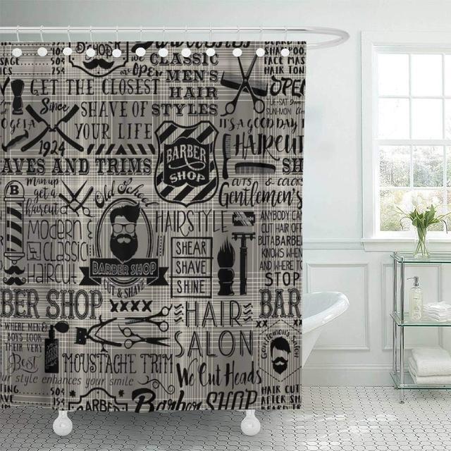 Fabric Shower Curtain With Hooks Barbershop Barber Tartan Vintage Badge Beard Cut Gentleman Graphic Grooming