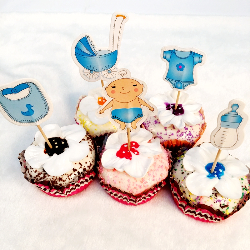 New 60pcs Lovely Baby Bottle Strollers Clothes Set Cupcake Topper Picks kids Birthday Fa ...