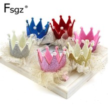 12PCS/Lot Free Shipping Baby Crown Hair wear Clip with Reather Childrens hair accessories