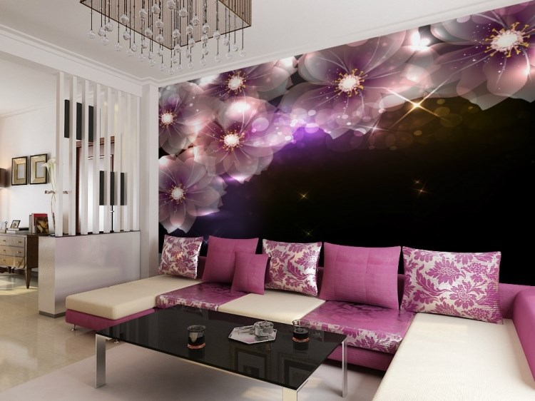 3d Wall Purple Mural TV Background Mural Shining Wallpaper Photo Mural 3d  Wall Wallpaper Living Room Glitter Dream Purple Murals In Wallpapers From  Home ... Part 34