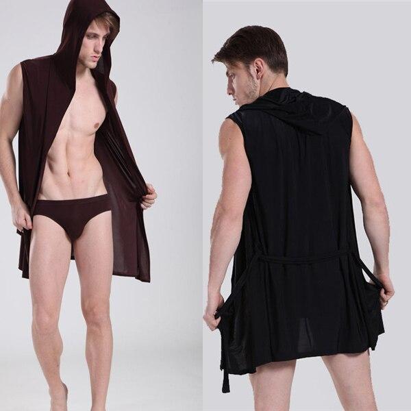 278a44e72c International Certification Silky Pajamas men Sleeveless Hooded bathrobe  Bath Robe Male Slim Thin Tracksuit Roupao Nightwear