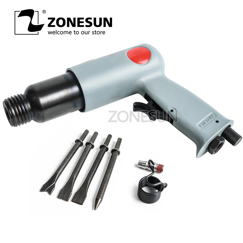 ZONESUN R-7622 Industrial Pneumatic Air Shovel Set Air Tools Air Chisel Air Rust Remover Wind Shovel Brake Repair With 4 Head air tool accessories c6b type wind gas shovel shovel accessories cylinder shank ouyi professional pneumatic tools