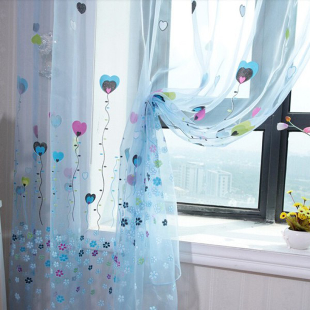 Ho how to tie balloon curtains - 100x200cm Flower Heart Balloon Tulle Voile Door Window Curtains Drape Panel Sheer Scarfs Valances Curtains