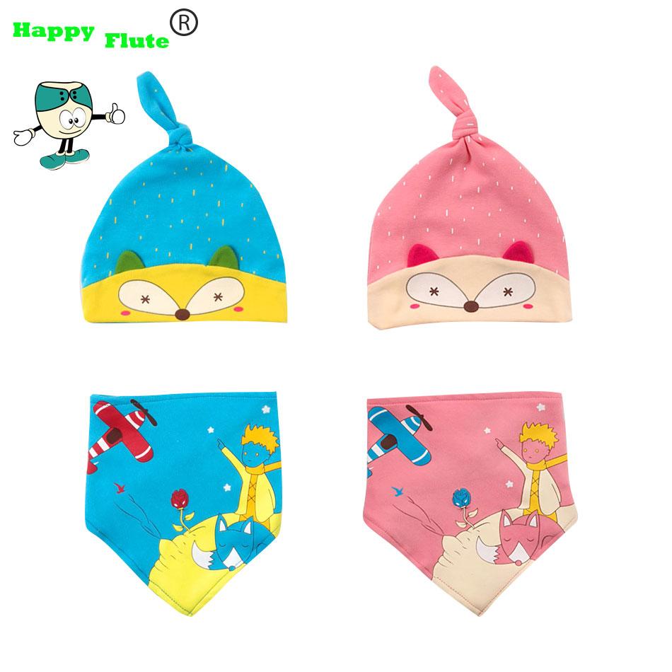 b478516375d0 Happyflute 2 pcs   set Hot Sale Newborn Hats bibs Baby Boy Girls Cap ...