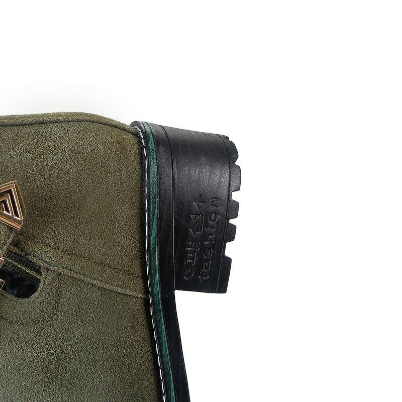 Talón Med 4 Mujeres Otoño Cm Tobillo verde Erogenous 2019 Cuero Zapatos Moda Casual 5 Redonda De Punta Botas Negro Primavera BC1wq7