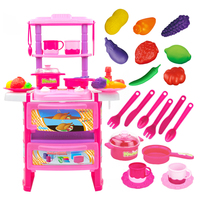 Children Funny Pretend & Play Toy Emulational Dining Table Kitchenware Set with Acousto optical Christmas Gift Toys For Kids