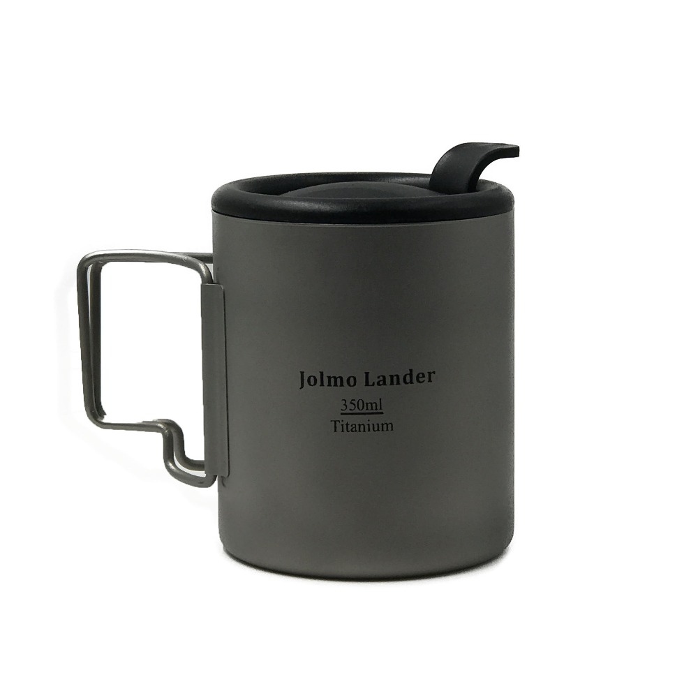 Jolmo Lander Insulated Titanium Mug Titanium Double Wall Mug with Lid Titanium Cup 350ml top sale stainless steel mug automatic stirring mug automatic stirring 350ml with lid handle button design keep warm green
