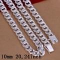 10 MM 20,24 inch Elos da Cadeia de Colares homens jóias masculinas Acessórios 925 selo de prata banhado Colares para homens Jóias colar N011