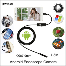JCWHCAM Endoscope 7mm 1.5M 2M 5M 3M Android Enoscope IP67 Waterproof Inspection Borescope Snake Tube Cable USB Camera