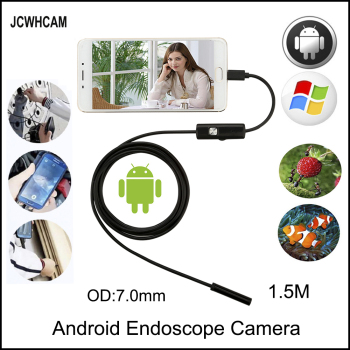 JCWHCAM Endoscope 7mm 1.5M 2M 5M 3M Android Enoscope IP67 Waterproof Inspection Borescope Snake Tube Cable USB Endoscope Camera