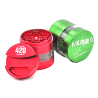 New Arrival HOLLYWEEDAluminum Herb/Spice Grinder Dia. 75MM 4 Parts Tobacco Pen Gridner Crusher With Paper Storage Case.