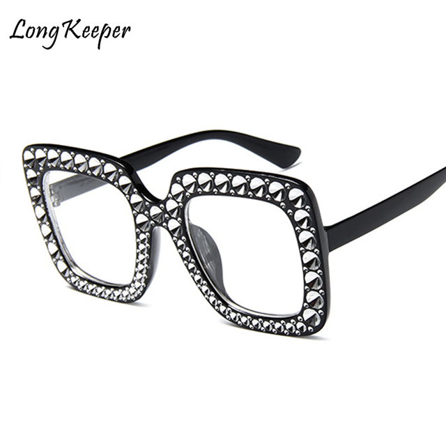 LongKeeper 2018 New Oversized Rhinestone Glasses Frame Women Big ...
