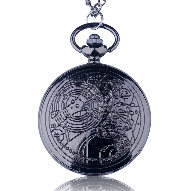 Fashion UK Doctor Who Style Vintage Quartz Pocket Watch With Chain Necklace Pendant Best Gift CF1022