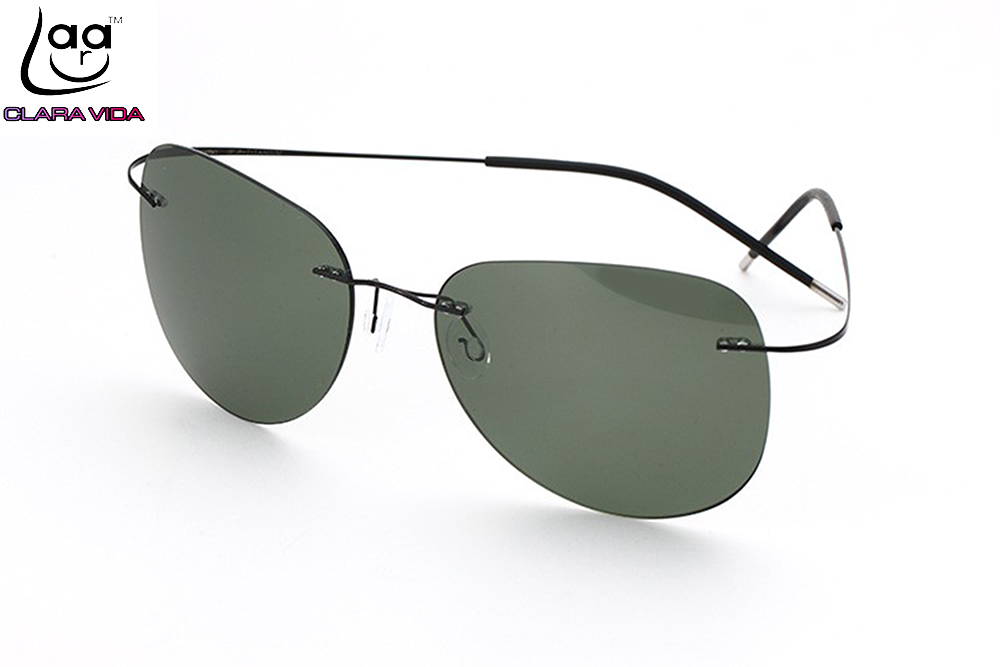 Rimless Polarized Sunglasses : CLARA VIDA Brand GENUINE B-Titanium Ultra Light Rimless ...