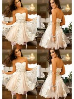 2019 Hot Sale A Line Sweetheart Mini Short Ivory Tulle Lace Homecoming Dresses Appliques Custom Made Cocktail Dresses