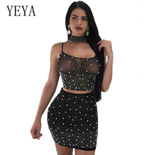 YEYA Women Rhinestone Mesh Bodycon Dress Sleeveless Backless Lace Up Mini Dress Sexy See Through Club Wear Two Piece Set Dresses see through mesh lace backless teddy