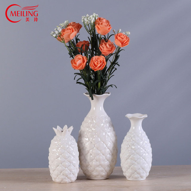 Porcelain White Pineapple Vases For Home Decoration Creative Flower