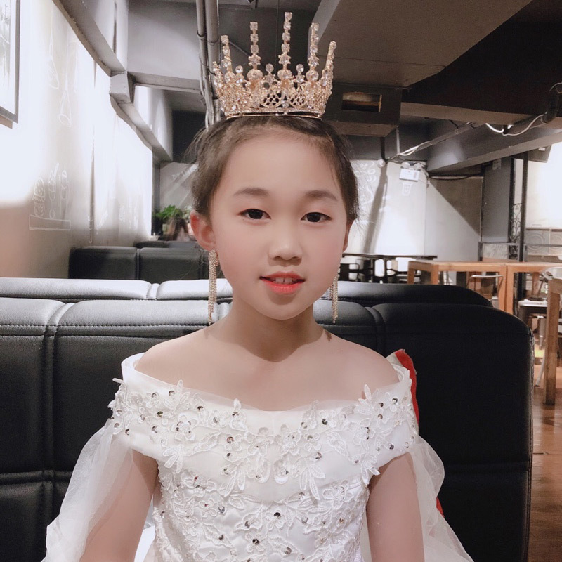 Crown Tiara Children's Princess Korean Style Girl Crown Crystal Gold Birthday Decoration Show Catwalk Jewelry(China)