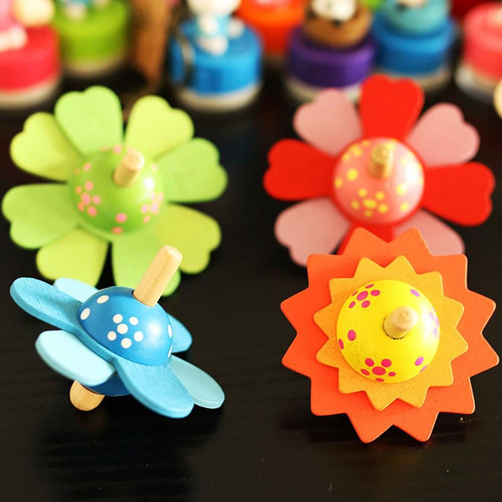 3inch Wooden Colorful Flower Spinning Top Handmade Gyro Developing Kids Toy