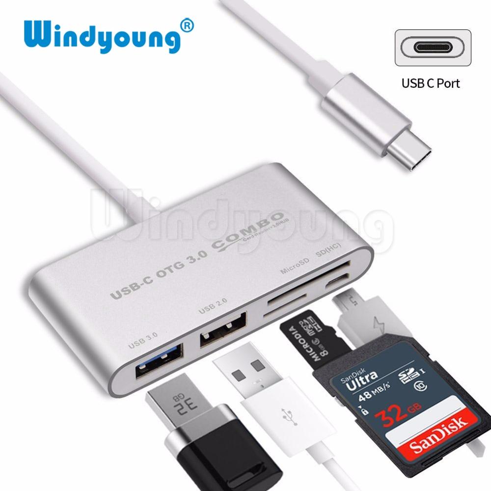 5 in 1 USB C HUB Card Reader Windyoung Type Hub OTG Multi USB-C Splitter + Micro Power Port for Macbook Air Pro
