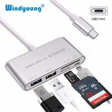 5 in 1 USB C HUB Card Reader Windyoung USB Type C Hub OTG Multi USB-C Splitter + Micro USB Power Port for Macbook Air Pro