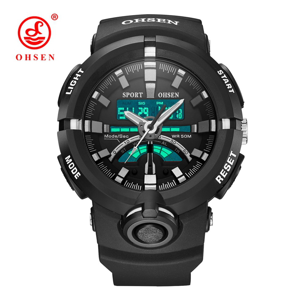 Original OHSEN Brand Black Rubber LED 3D Dial Waterproof Quartz Analog Sport Watches for Men Military Army Mens Watch Wrist frequency converter shf 7 5 k board cpu board control board dmc12008b 7 5kw