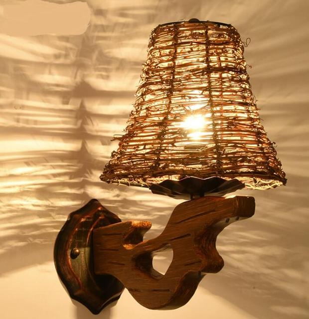 Bamboe Landelijke rotan art wandlamp landelijke eetkamer woonkamer ...