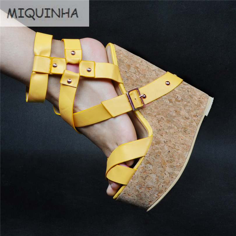 2017 New Designer Chaussure Femme Wedges Gladiator Escarpins Zapatos Mujer Platform Yellow Shoes Women Sandals Plus Size 34-47 2017 summer new rivet wedges sandals creepers women high heel platform casual shoes silver women gladiator sandals zapatos mujer