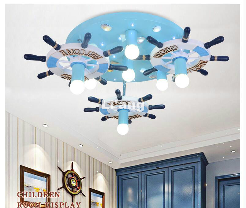 Free Shipping LED Children Lights Children Ceiling Lamp Blue Color Decora Lamp L70cm E27 AC 110V 220V Remote Controller Included