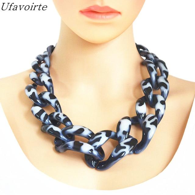 Ufavoirte Brand DIY Statement Necklace Handwork Punk Big Acrylic Resin Chain Weaving Chain Necklaces & Pendants For Women