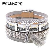 winter Leather bracelet 3 color size charm bracelets for women Christmas gift wrap bangles wholesale