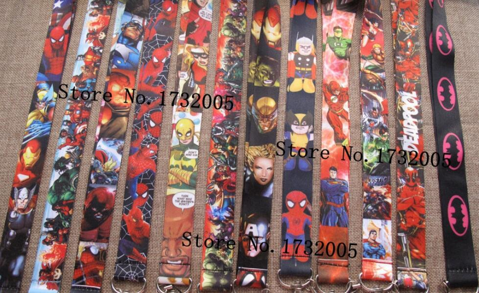 New 50 pcs Cartoon Superheros Cello Phone key chain Neck Strap Keys Lanyards Free Shipping Tp