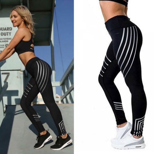 Fashion Women Leggings Striped Printing Black Fitness Legging Jeggings Sexy Silm Legins High Waist Stretch Trouser Pants