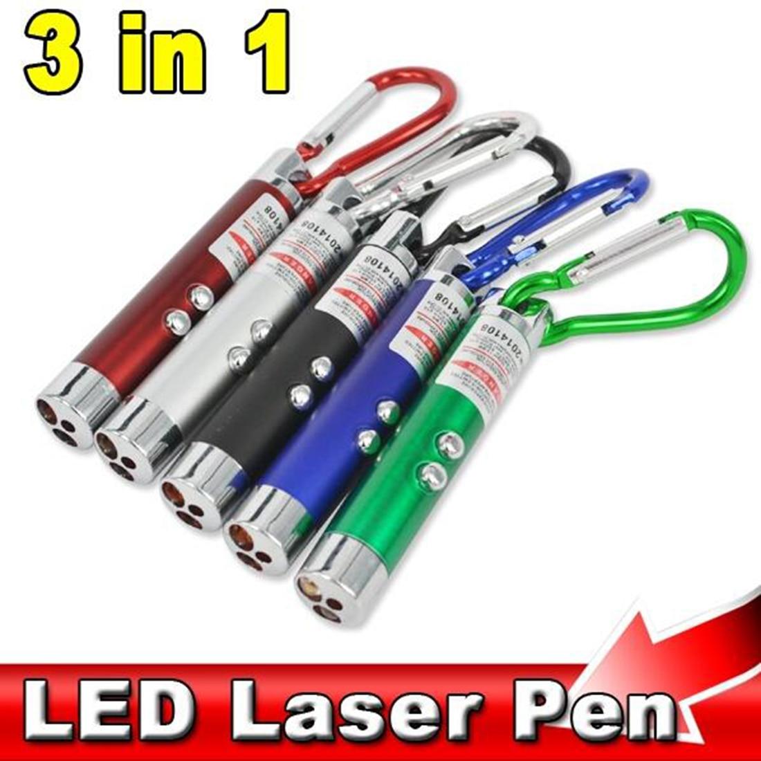 Etmakit Hot 3 In 1 Red Laser Pointer Pen Flashlight Counterfeit Money Detector Climbing Hook