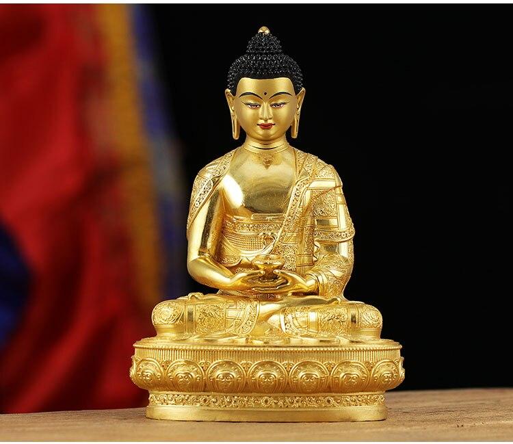 21 CM gran Alta Calidad dorado Buda estatua de latón hogar protección efectiva tibetana Nepal Amitabha amiayus buda-in Estatuas y esculturas from Hogar y Mascotas    1