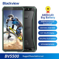 Blackview BV5500 5.5 Inch 18:9 Screen Mobile Phone IP68 Waterproof 2GB+16GB 4400mAh Big Battery Android 8.1 Rugged 3G Smartphone