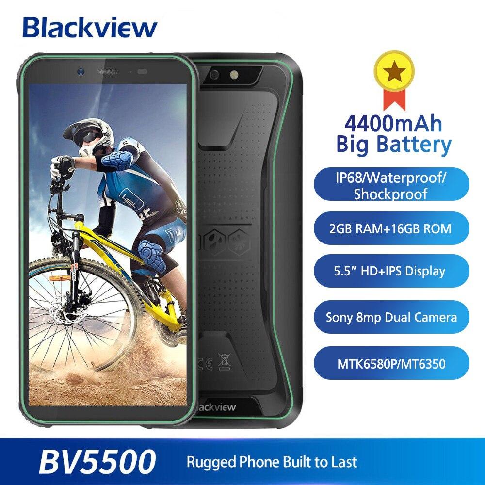Blackview BV5500 5.5 Pouces 18:9 Écran téléphone portable IP68 Étanche 2 GB + 16 GB 4400 mAh Grosse Batterie Android 8.1 robuste 3G Smartphone