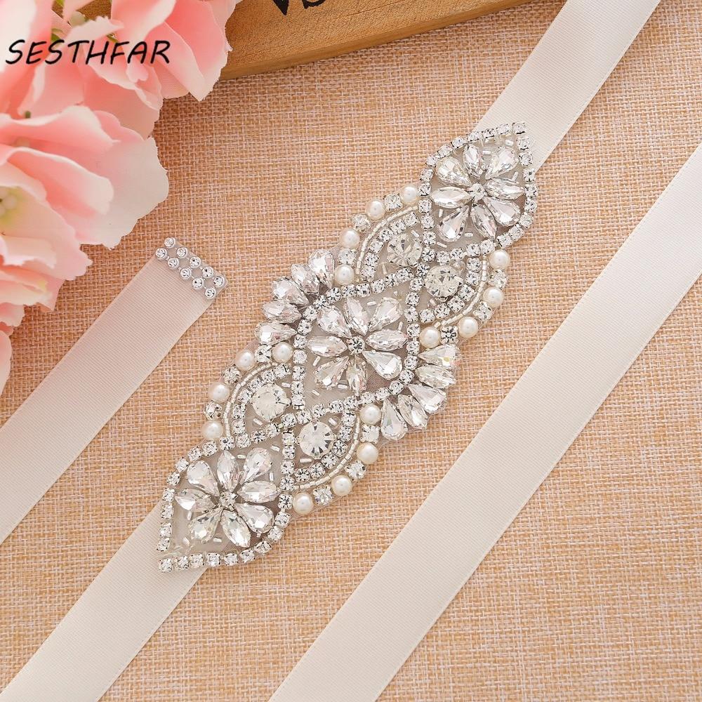 Crystal Wedding Dress Belt Rhinestone Bridal Belt Handmade Pearl Bridesmaid Sash For Bridal Accessories J107S