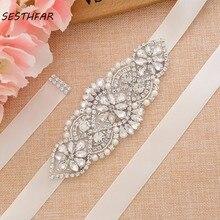 Belt Rhinestone Wedding-Dress Bridesmaid-Sash Crystal Pearl for Bridal-Accessories J107S