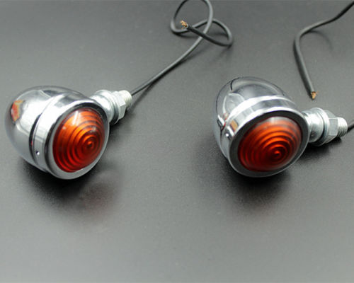 2 x Motorcycle Chrome Turn Signal Light Indicator Flasher Blinker Chopper Bobber Cafe Racer Street Bike Universal